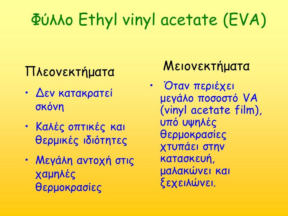 Φύλλο Ethyl vinyl acetate (EVA) Πλεονεκτήματα Δεν κατακρατεί σκόνη Καλές οπτικές και θερμικές ιδιότητες Μεγάλη αντοχή στις χαμηλές θερμοκρασίες Μειονεκτήματα Όταν περιέχει μεγάλο ποσοστό VA (vinyl acetate film), υπό υψηλές θερμοκρασίες χτυπάει στην κατασκευή, μαλακώνει και ξεχειλώνει.