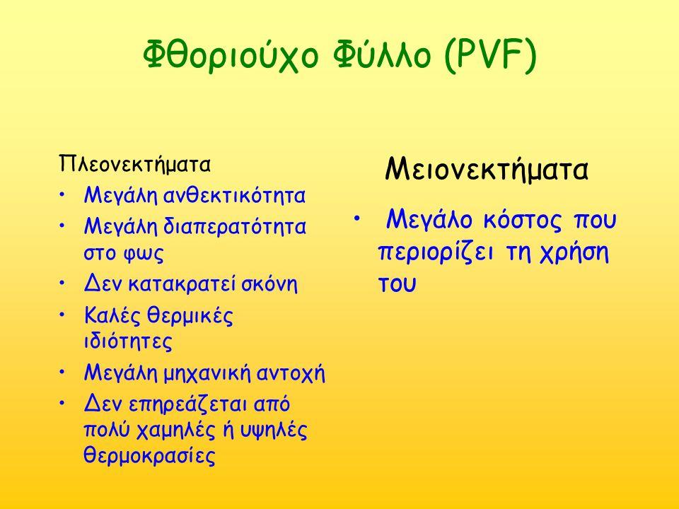 Φθοριούχο Φύλλο (PVF) Πλεονεκτήματα Μεγάλη ανθεκτικότητα Μεγάλη διαπερατότητα στο φως Δεν κατακρατεί σκόνη Καλές θερμικές ιδιότητες Μεγάλη μηχανική αντοχή Δεν επηρεάζεται από πολύ χαμηλές ή υψηλές θερμοκρασίες Μειονεκτήματα Μεγάλο κόστος που περιορίζει τη χρήση του