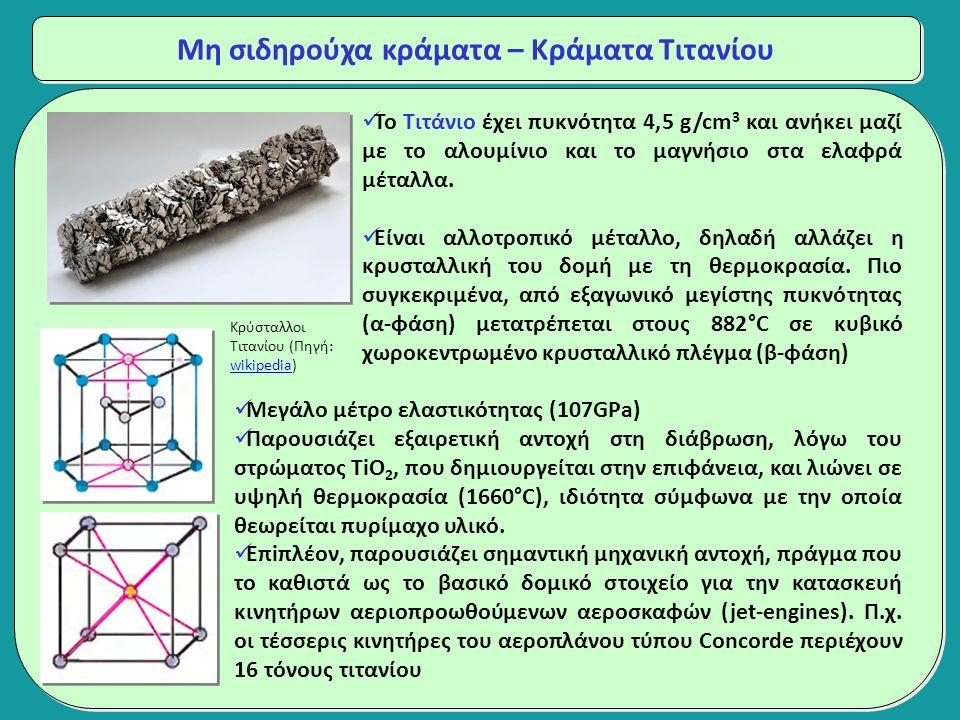Μη σιδηρούχα κράματα – Κράματα Τιτανίου Το Τιτάνιο έχει πυκνότητα 4,5 g/cm 3 και ανήκει μαζί με το αλουμίνιο και το μαγνήσιο στα ελαφρά μέταλλα.