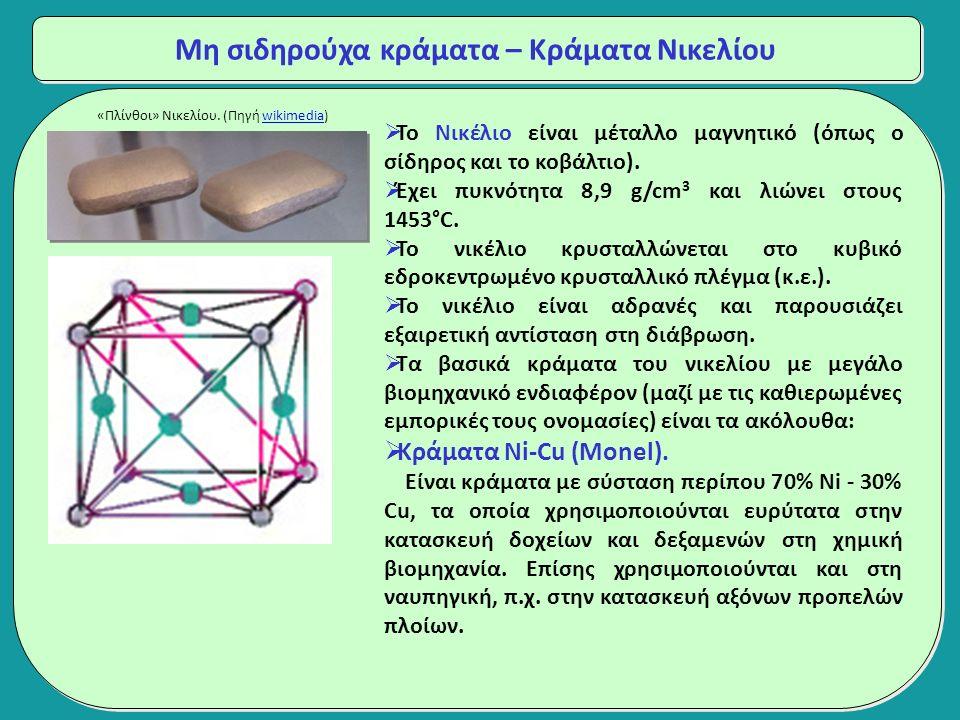 Μη σιδηρούχα κράματα – Κράματα Νικελίου  Το Νικέλιο είναι μέταλλο μαγνητικό (όπως ο σίδηρος και το κοβάλτιο).