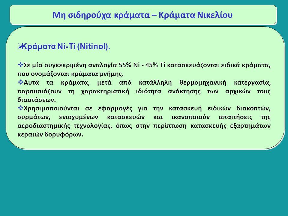 Μη σιδηρούχα κράματα – Κράματα Νικελίου  Κράματα Ni-Ti (Nitinol).