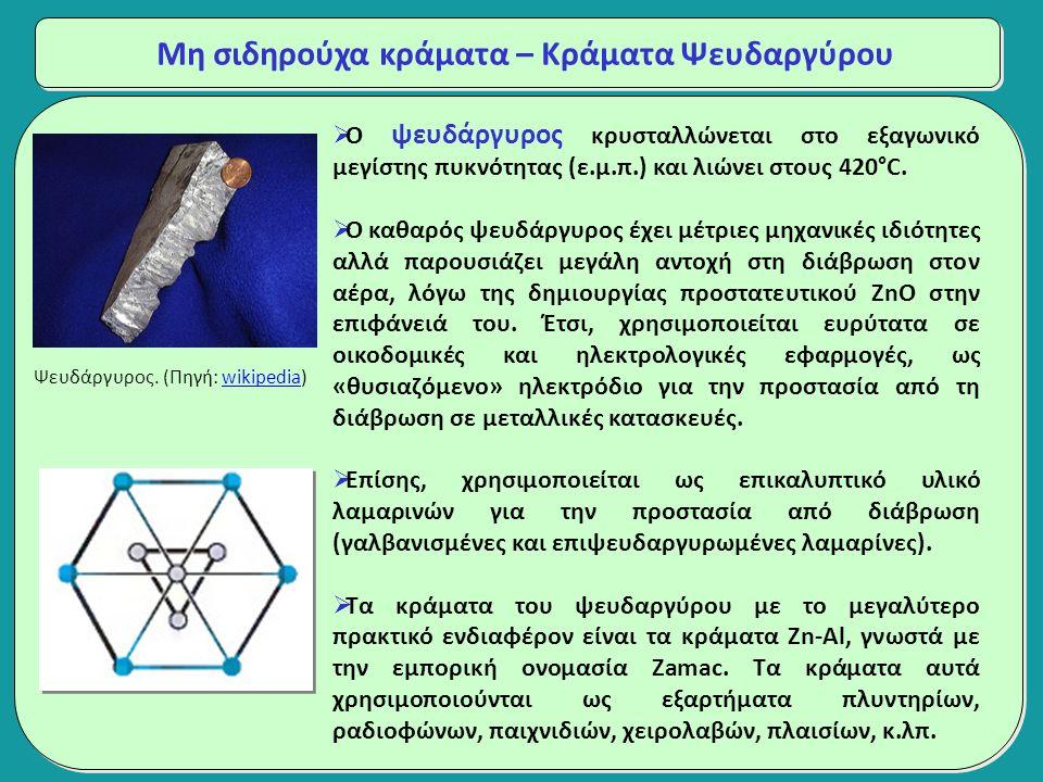 Μη σιδηρούχα κράματα – Κράματα Ψευδαργύρου  Ο ψευδάργυρος κρυσταλλώνεται στο εξαγωνικό μεγίστης πυκνότητας (ε.μ.π.) και λιώνει στους 420°C.