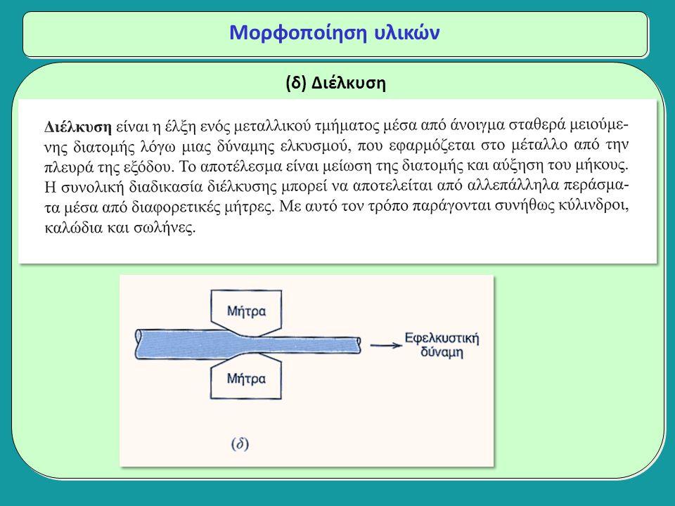 (δ) Διέλκυση Μορφοποίηση υλικών