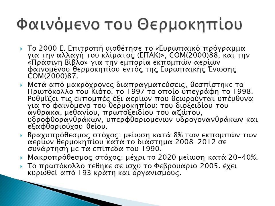  Το 2000 Ε. Επιτροπή υιοθέτησε το «Ευρωπαϊκό πρόγραμμα για την αλλαγή του κλίματος (ΕΠΑΚ)», COM(2000)88, και την «Πράσινη Βίβλο» για την εμπορία εκπο