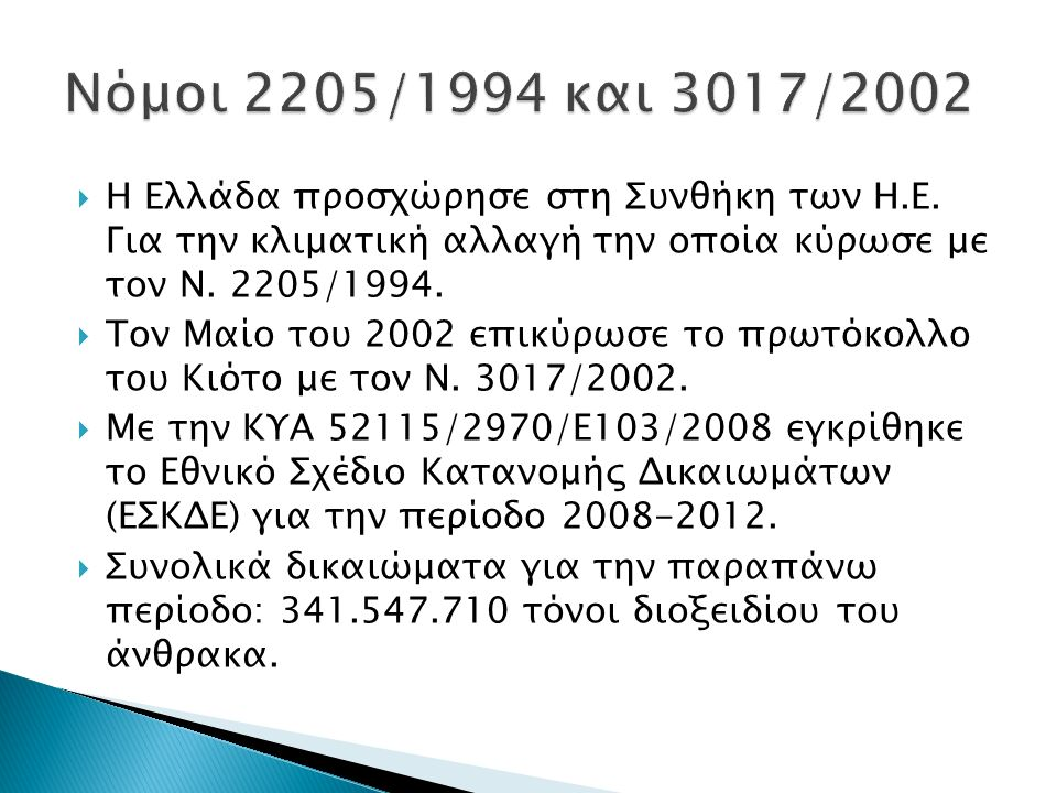  Η Ελλάδα προσχώρησε στη Συνθήκη των Η.Ε. Για την κλιματική αλλαγή την οποία κύρωσε με τον Ν. 2205/1994.  Τον Μαίο του 2002 επικύρωσε το πρωτόκολλο
