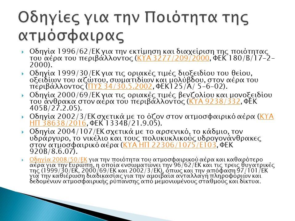  Οδηγία 1996/62/ΕΚ για την εκτίμηση και διαχείριση της ποιότητας του αέρα του περιβάλλοντος (ΚΥΑ 3277/209/2000, ΦΕΚ 180/Β/17-2- 2000).ΚΥΑ 3277/209/2000  Οδηγία 1999/30/ΕΚ για τις οριακές τιμές διοξειδίου του θείου, οξειδίων του αζώτου, σωματιδίων και μολύβδου, στον αέρα του περιβάλλοντος (ΠΥΣ 34/30.5.2002, ΦΕΚ125/Α/ 5-6-02).ΠΥΣ 34/30.5.2002  Οδηγία 2000/69/ΕΚ για τις οριακές τιμές βενζολίου και μονοξειδίου του άνθρακα στον αέρα του περιβάλλοντος (ΚΥΑ 9238/332, ΦΕΚ 405Β/27.2.05).ΚΥΑ 9238/332  Οδηγία 2002/3/ΕΚ σχετικά με το όζον στον ατμοσφαιρικό αέρα (ΚΥΑ ΗΠ 38638/2016, ΦΕΚ 1334Β/21.9.05).ΚΥΑ ΗΠ 38638/2016  Οδηγία 2004/107/ΕΚ σχετικά με το αρσενικό, το κάδμιο, τον υδράργυρο, το νικέλιο και τους πολυκυκλικούς υδρογονάνθρακες στον ατμοσφαιρικό αέρα (ΚΥΑ ΗΠ 22306/1075/Ε103, ΦΕΚ 920Β/8.6.07).ΚΥΑ ΗΠ 22306/1075/Ε103  Οδηγία 2008/50/ΕΚ για την ποιότητα του ατμοσφαιρικού αέρα και καθαρότερο αέρα για την Ευρώπη, η οποία ενσωματώνει την 96/62/EΚ και τις τρεις θυγατρικές της (1999/30/ΕΚ, 2000/69/ΕΚ και 2002/3/ΕΚ), όπως και την απόφαση 97/101/ΕΚ για την καθιέρωση διαδικασίας για την αμοιβαία ανταλλαγή πληροφοριών και δεδομένων ατμοσφαιρικής ρύπανσης από μεμονωμένους σταθμούς και δίκτυα.