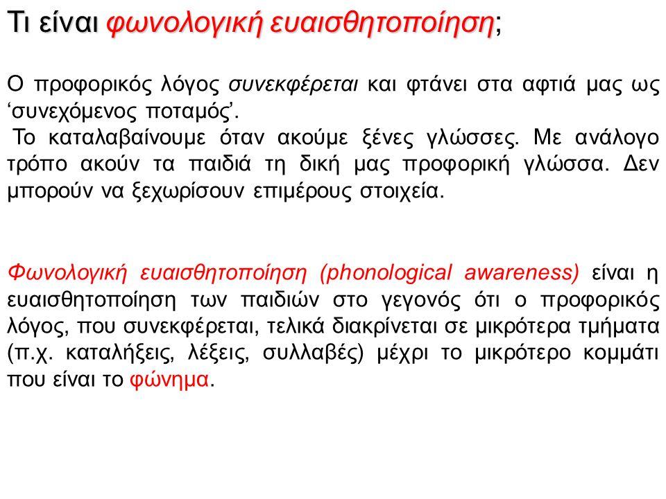 Τι είναι φωνολογική ευαισθητοποίηση Τι είναι φωνολογική ευαισθητοποίηση; Φωνολογική ευαισθητοποίηση (phonological awareness) είναι η ευαισθητοποίηση τ
