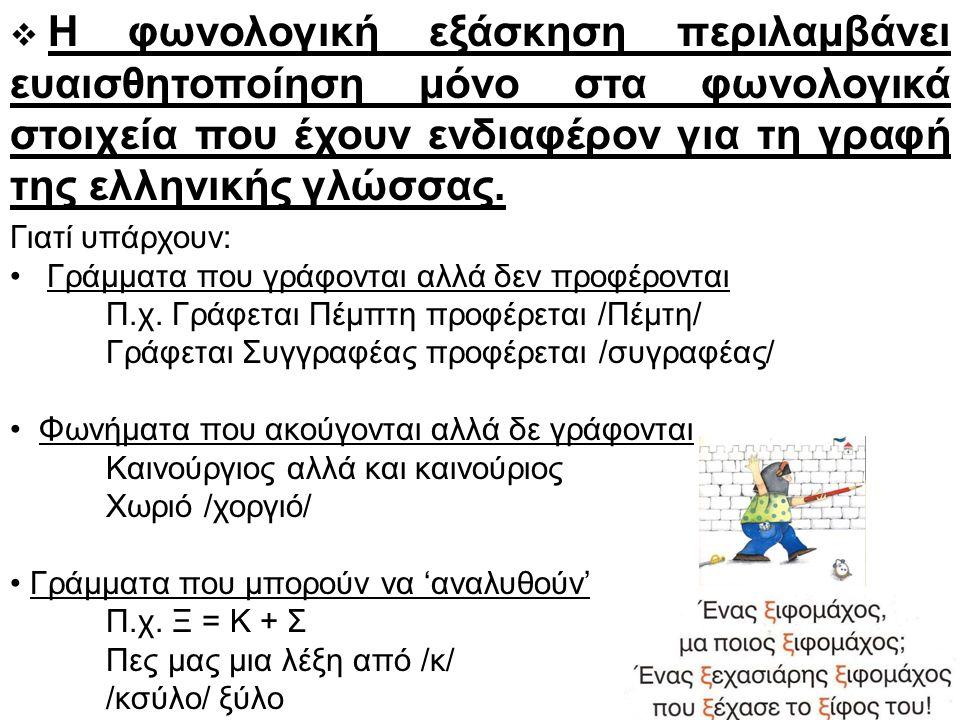  Η φωνολογική εξάσκηση περιλαμβάνει ευαισθητοποίηση μόνο στα φωνολογικά στοιχεία που έχουν ενδιαφέρον για τη γραφή της ελληνικής γλώσσας.