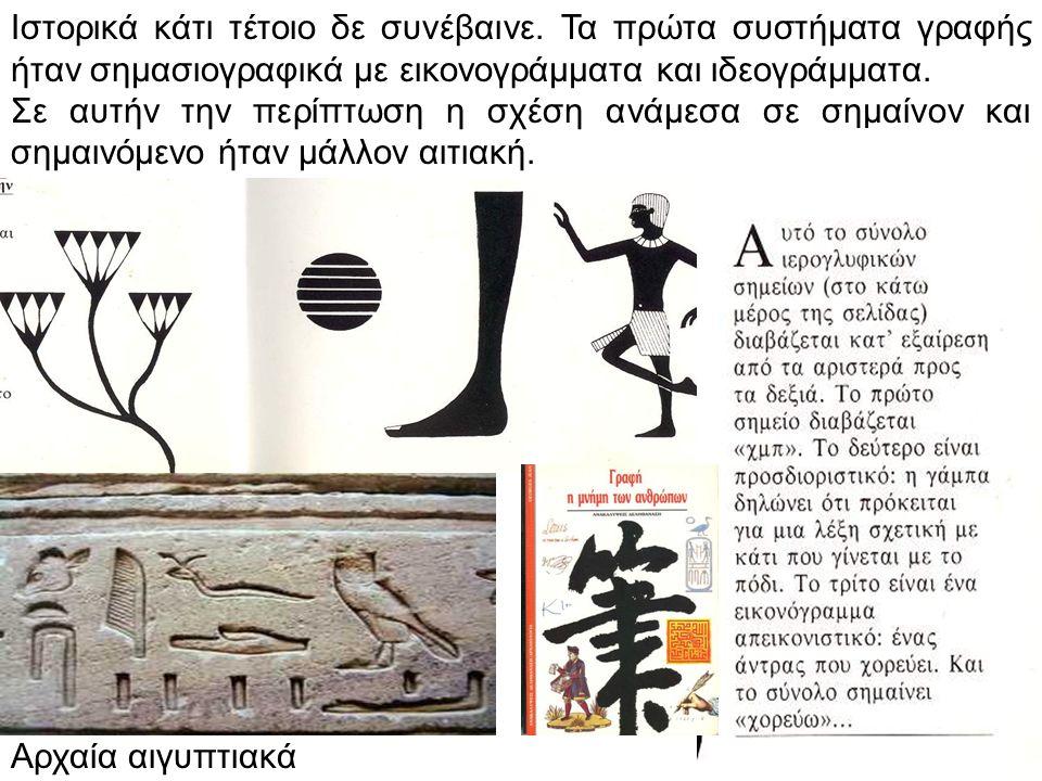 Ιστορικά κάτι τέτοιο δε συνέβαινε. Τα πρώτα συστήματα γραφής ήταν σημασιογραφικά με εικονογράμματα και ιδεογράμματα. Σε αυτήν την περίπτωση η σχέση αν