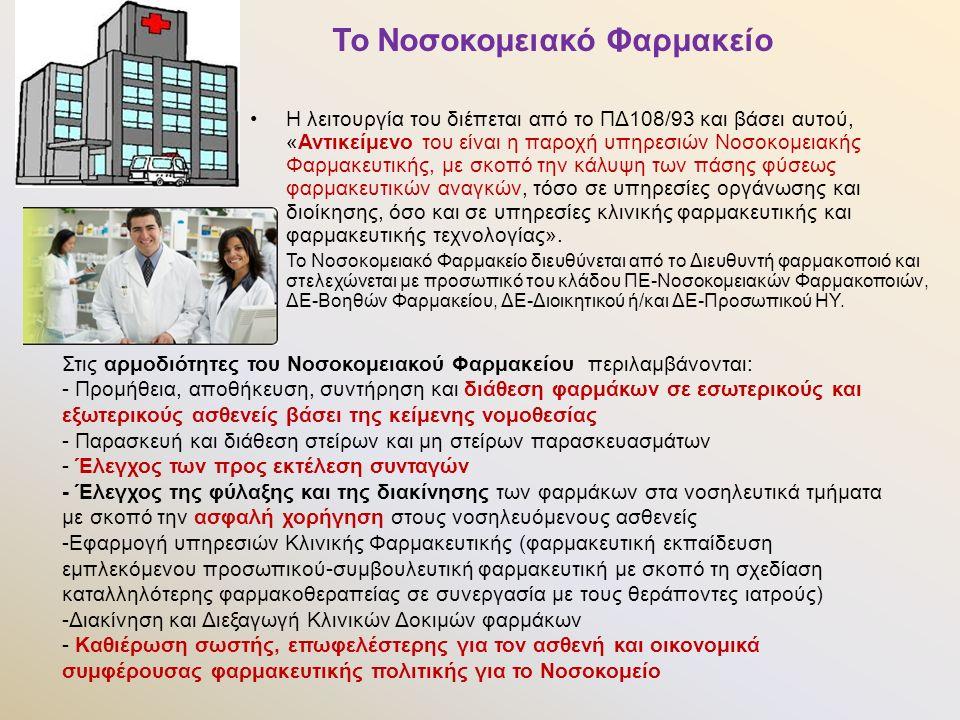 Η λειτουργία του διέπεται από το ΠΔ108/93 και βάσει αυτού, «Αντικείμενο του είναι η παροχή υπηρεσιών Νοσοκομειακής Φαρμακευτικής, με σκοπό την κάλυψη των πάσης φύσεως φαρμακευτικών αναγκών, τόσο σε υπηρεσίες οργάνωσης και διοίκησης, όσο και σε υπηρεσίες κλινικής φαρμακευτικής και φαρμακευτικής τεχνολογίας».