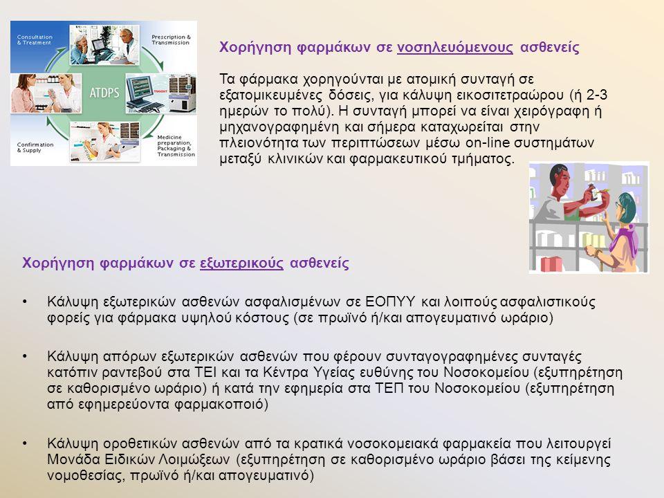 Χορήγηση φαρμάκων σε εξωτερικούς ασθενείς Κάλυψη εξωτερικών ασθενών ασφαλισμένων σε ΕΟΠΥΥ και λοιπούς ασφαλιστικούς φορείς για φάρμακα υψηλού κόστους (σε πρωϊνό ή/και απογευματινό ωράριο) Κάλυψη απόρων εξωτερικών ασθενών που φέρουν συνταγογραφημένες συνταγές κατόπιν ραντεβού στα ΤΕΙ και τα Κέντρα Υγείας ευθύνης του Νοσοκομείου (εξυπηρέτηση σε καθορισμένο ωράριο) ή κατά την εφημερία στα ΤΕΠ του Νοσοκομείου (εξυπηρέτηση από εφημερεύοντα φαρμακοποιό) Κάλυψη οροθετικών ασθενών από τα κρατικά νοσοκομειακά φαρμακεία που λειτουργεί Μονάδα Ειδικών Λοιμώξεων (εξυπηρέτηση σε καθορισμένο ωράριο βάσει της κείμενης νομοθεσίας, πρωϊνό ή/και απογευματινό) Χορήγηση φαρμάκων σε νοσηλευόμενους ασθενείς Τα φάρμακα χορηγούνται με ατομική συνταγή σε εξατομικευμένες δόσεις, για κάλυψη εικοσιτετραώρου (ή 2-3 ημερών το πολύ).