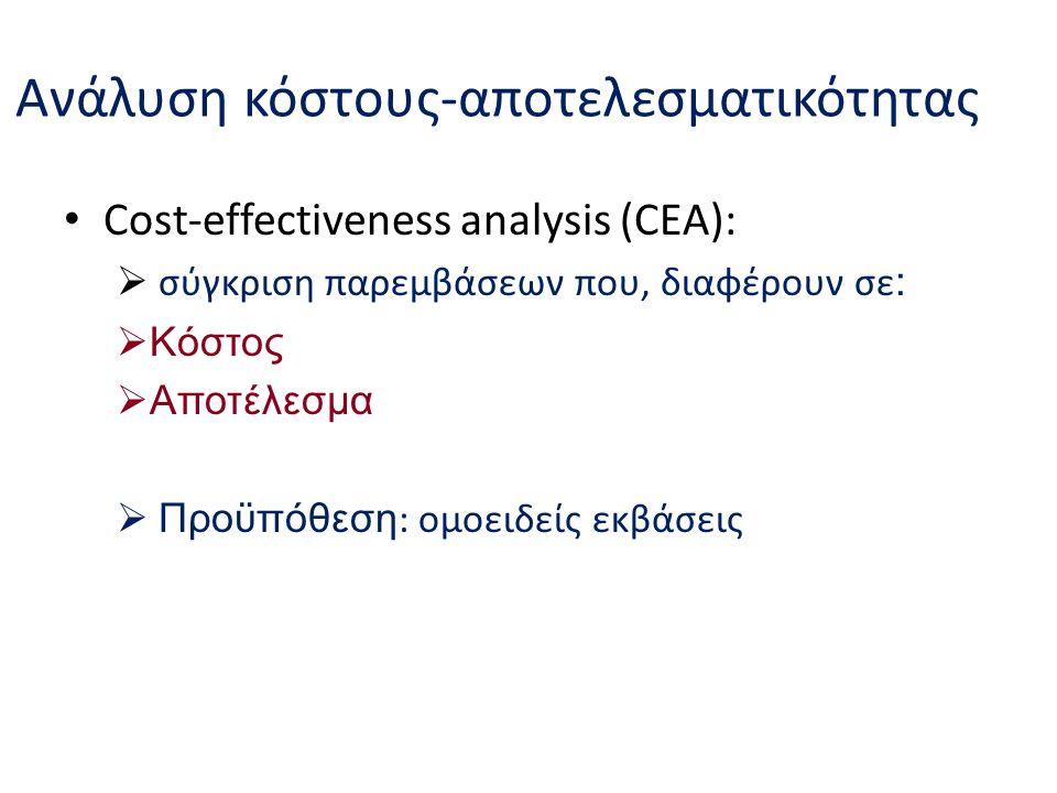 Ανάλυση κόστους-αποτελεσματικότητας Cost-effectiveness analysis (CEA):  σύγκριση παρεμβάσεων που, διαφέρουν σε :  Κόστος  Αποτέλεσμα  Προϋπόθεση : ομοειδείς εκβάσεις