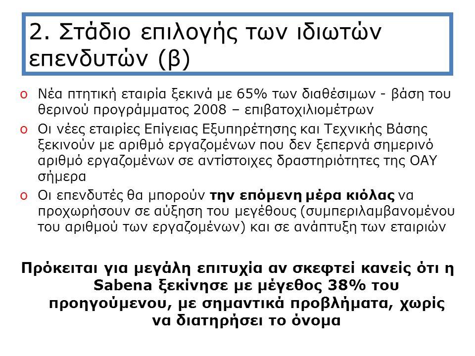 2. Στάδιο επιλογής των ιδιωτών επενδυτών (β) oΝέα πτητική εταιρία ξεκινά με 65% των διαθέσιμων - βάση του θερινού προγράμματος 2008 – επιβατοχιλιομέτρ