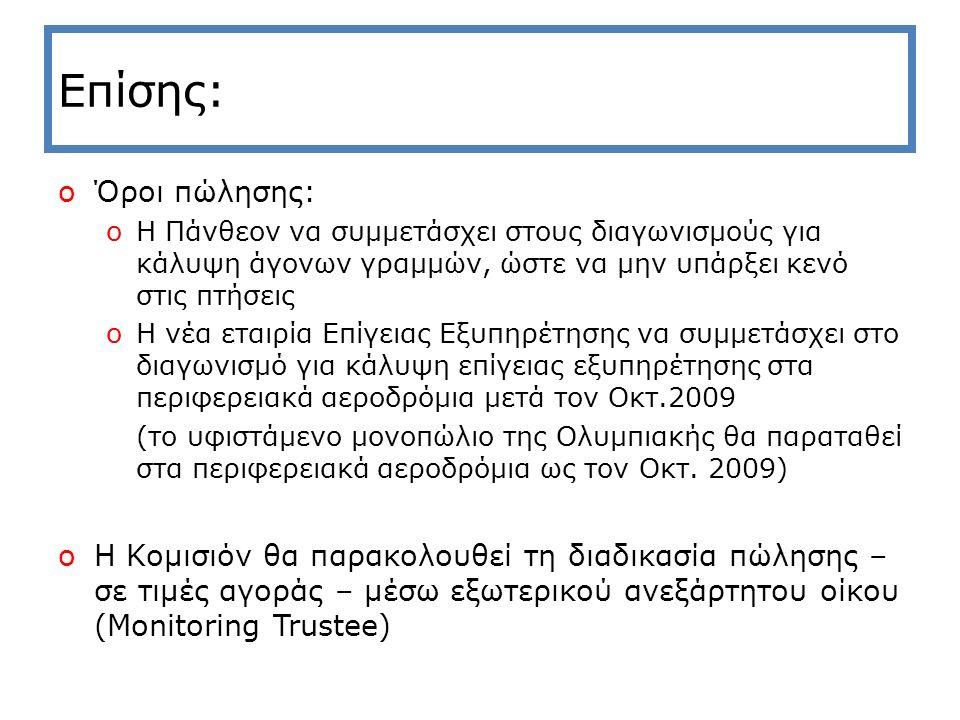 Επίσης: oΌροι πώλησης: oΗ Πάνθεον να συμμετάσχει στους διαγωνισμούς για κάλυψη άγονων γραμμών, ώστε να μην υπάρξει κενό στις πτήσεις oΗ νέα εταιρία Επίγειας Εξυπηρέτησης να συμμετάσχει στο διαγωνισμό για κάλυψη επίγειας εξυπηρέτησης στα περιφερειακά αεροδρόμια μετά τον Οκτ.2009 (το υφιστάμενο μονοπώλιο της Ολυμπιακής θα παραταθεί στα περιφερειακά αεροδρόμια ως τον Οκτ.