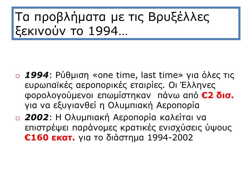 Τα προβλήματα με τις Βρυξέλλες ξεκινούν το 1994… o 1994: Ρύθμιση «one time, last time» για όλες τις ευρωπαϊκές αεροπορικές εταιρίες.