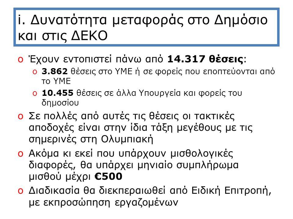 i. Δυνατότητα μεταφοράς στο Δημόσιο και στις ΔΕΚΟ oΈχουν εντοπιστεί πάνω από 14.317 θέσεις: o3.862 θέσεις στο ΥΜΕ ή σε φορείς που εποπτεύονται από το