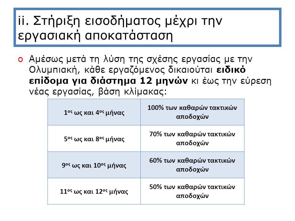 ii. Στήριξη εισοδήματος μέχρι την εργασιακή αποκατάσταση oΑμέσως μετά τη λύση της σχέσης εργασίας με την Ολυμπιακή, κάθε εργαζόμενος δικαιούται ειδικό