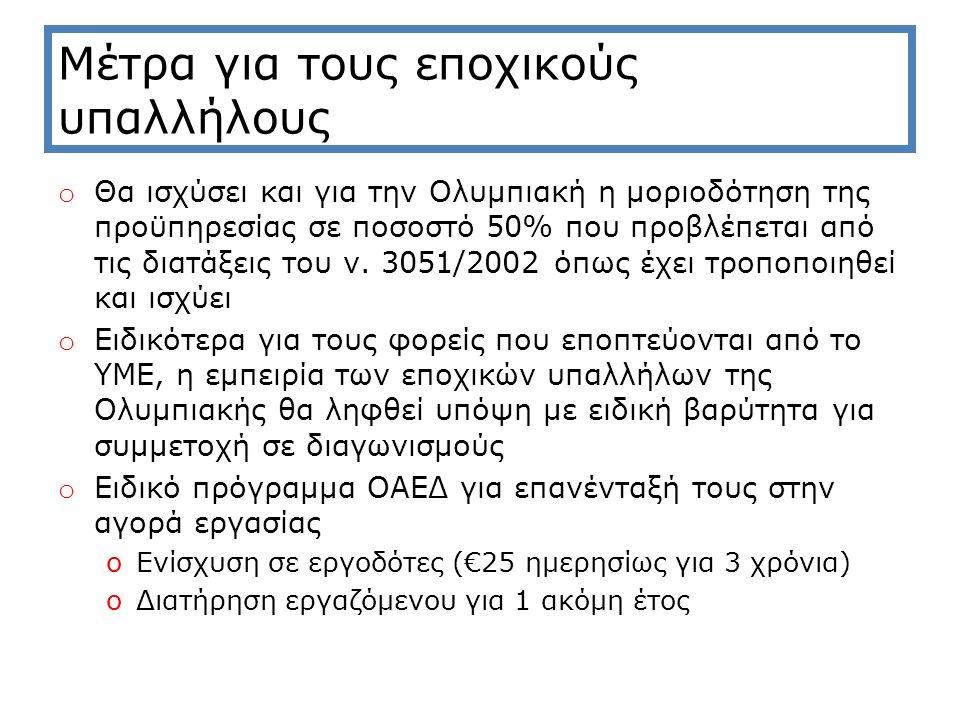 Μέτρα για τους εποχικούς υπαλλήλους o Θα ισχύσει και για την Ολυμπιακή η μοριοδότηση της προϋπηρεσίας σε ποσοστό 50% που προβλέπεται από τις διατάξεις του ν.