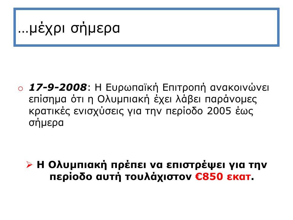 Ολυμπιακή : Υπέρογκες ζημίες σε σχέση με το μέγεθός της o2,5 φορές το μετρό Θεσσαλονίκης o2.000 εξαθέσια σχολεία o50 μεγάλα Νομαρχιακά Νοσοκομεία oΤριπλάσιο από τα κονδύλια κονδυλίων που δόθηκαν το 2008 (€950 εκατ.) για να καλυφθεί η αύξηση των συντάξεων του ΟΓΑ, του ΕΚΑΣ, του Επιδόματος Ανεργίας και η χρηματοδότηση του Ταμείου Κοινωνικής Συνοχής!!.