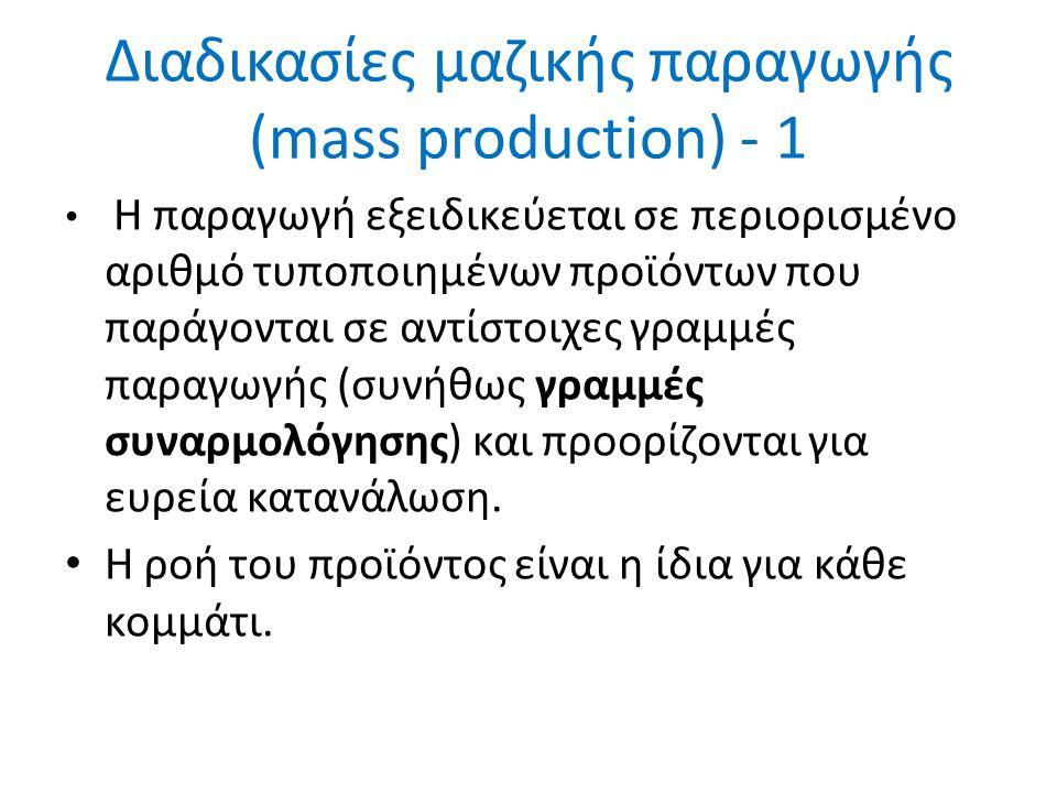 Διαδικασίες μαζικής παραγωγής (mass production) - 1 Η παραγωγή εξειδικεύεται σε περιορισμένο αριθμό τυποποιημένων προϊόντων που παράγονται σε αντίστοιχες γραμμές παραγωγής (συνήθως γραμμές συναρμολόγησης) και προορίζονται για ευρεία κατανάλωση.