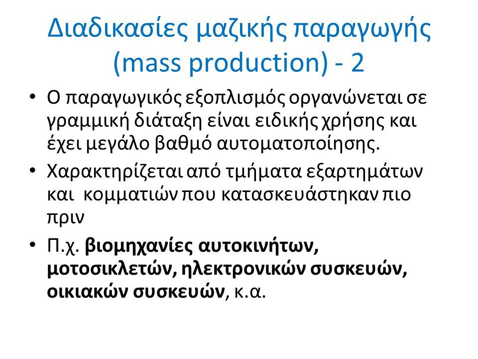 Ο παραγωγικός εξοπλισμός οργανώνεται σε γραμμική διάταξη είναι ειδικής χρήσης και έχει μεγάλο βαθμό αυτοματοποίησης.