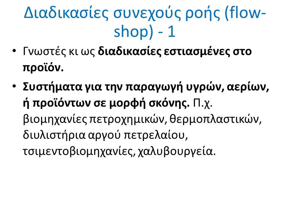 Διαδικασίες συνεχούς ροής (flow- shop) - 1 Γνωστές κι ως διαδικασίες εστιασμένες στο προϊόν.