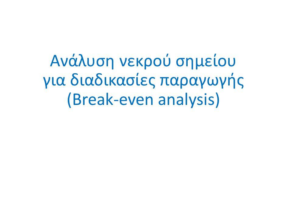 Ανάλυση νεκρού σημείου για διαδικασίες παραγωγής (Break-even analysis)