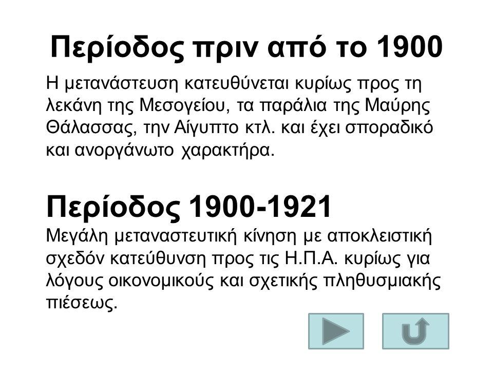 Περίοδος πριν από το 1900 Η μετανάστευση κατευθύνεται κυρίως προς τη λεκάνη της Μεσογείου, τα παράλια της Μαύρης Θάλασσας, την Αίγυπτο κτλ. και έχει σ