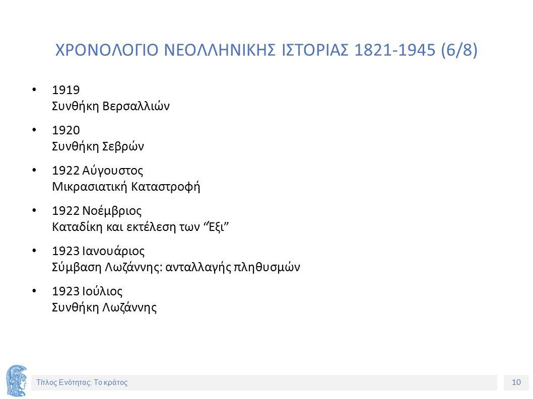 10 Τίτλος Ενότητας: Το κράτος ΧΡΟΝΟΛΟΓΙΟ ΝΕΟΛΛΗΝΙΚΗΣ ΙΣΤΟΡΙΑΣ 1821-1945 (6/8) 1919 Συνθήκη Βερσαλλιών 1920 Συνθήκη Σεβρών 1922 Αύγουστος Μικρασιατική Καταστροφή 1922 Νοέμβριος Καταδίκη και εκτέλεση των Έξι 1923 Ιανουάριος Σύμβαση Λωζάννης: ανταλλαγής πληθυσμών 1923 Ιούλιος Συνθήκη Λωζάννης