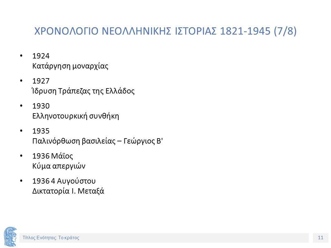 11 Τίτλος Ενότητας: Το κράτος ΧΡΟΝΟΛΟΓΙΟ ΝΕΟΛΛΗΝΙΚΗΣ ΙΣΤΟΡΙΑΣ 1821-1945 (7/8) 1924 Κατάργηση μοναρχίας 1927 Ίδρυση Τράπεζας της Ελλάδος 1930 Ελληνοτου