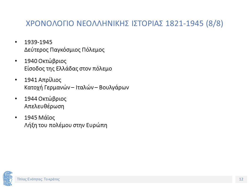 12 Τίτλος Ενότητας: Το κράτος ΧΡΟΝΟΛΟΓΙΟ ΝΕΟΛΛΗΝΙΚΗΣ ΙΣΤΟΡΙΑΣ 1821-1945 (8/8) 1939-1945 Δεύτερος Παγκόσμιος Πόλεμος 1940 Οκτώβριος Είσοδος της Ελλάδας στον πόλεμο 1941 Απρίλιος Κατοχή Γερμανών – Ιταλών – Βουλγάρων 1944 Οκτώβριος Απελευθέρωση 1945 Μάϊος Λήξη του πολέμου στην Ευρώπη