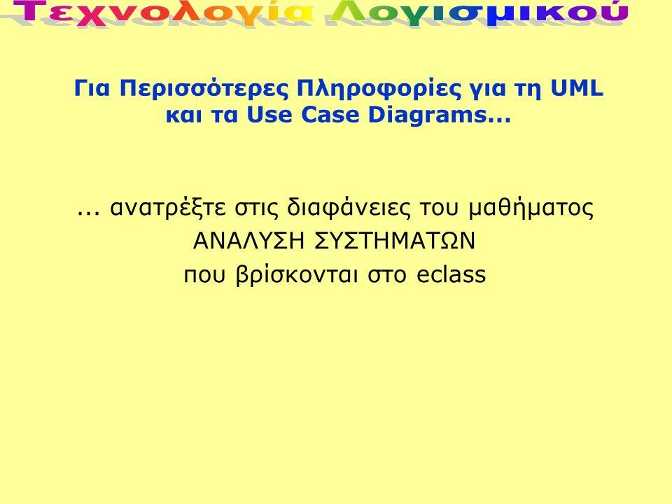 Για Περισσότερες Πληροφορίες για τη UML και τα Use Case Diagrams......