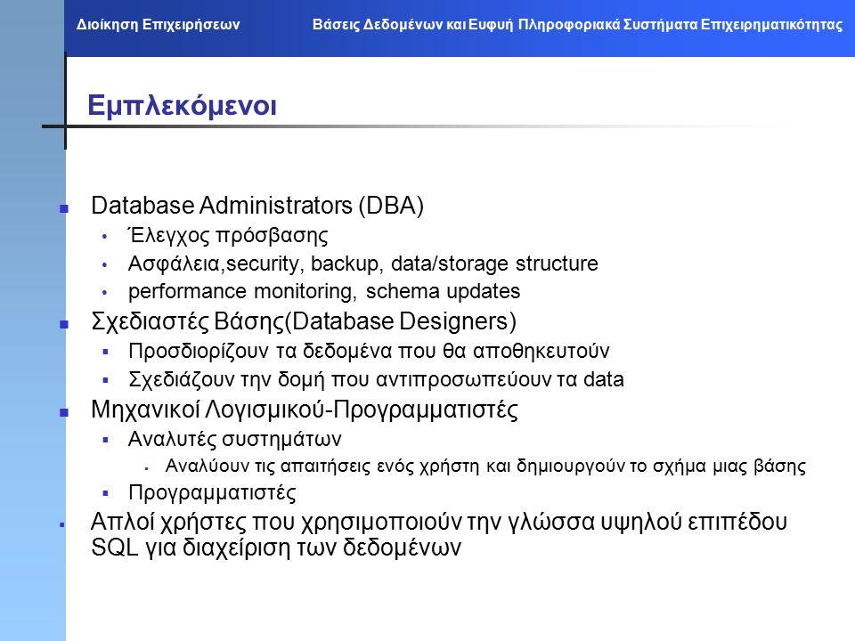Διοίκηση Επιχειρήσεων Βάσεις Δεδομένων και Ευφυή Πληροφοριακά Συστήματα Επιχειρηματικότητας Εμπλεκόμενοι Database Administrators (DBA) Έλεγχος πρόσβασης Ασφάλεια,security, backup, data/storage structure performance monitoring, schema updates Σχεδιαστές Βάσης(Database Designers)  Προσδιορίζουν τα δεδομένα που θα αποθηκευτούν  Σχεδιάζουν την δομή που αντιπροσωπεύουν τα data Μηχανικοί Λογισμικού-Προγραμματιστές  Αναλυτές συστημάτων  Αναλύουν τις απαιτήσεις ενός χρήστη και δημιουργούν το σχήμα μιας βάσης  Προγραμματιστές  Απλοί χρήστες που χρησιμοποιούν την γλώσσα υψηλού επιπέδου SQL για διαχείριση των δεδομένων