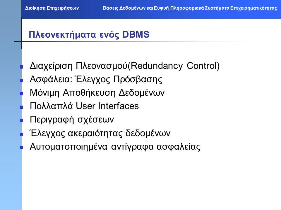 Διοίκηση Επιχειρήσεων Βάσεις Δεδομένων και Ευφυή Πληροφοριακά Συστήματα Επιχειρηματικότητας Πλεονεκτήματα ενός DBMS Διαχείριση Πλεονασμού(Redundancy Control) Ασφάλεια: Έλεγχος Πρόσβασης Μόνιμη Αποθήκευση Δεδομένων Πολλαπλά User Interfaces Περιγραφή σχέσεων Έλεγχος ακεραιότητας δεδομένων Αυτοματοποιημένα αντίγραφα ασφαλείας