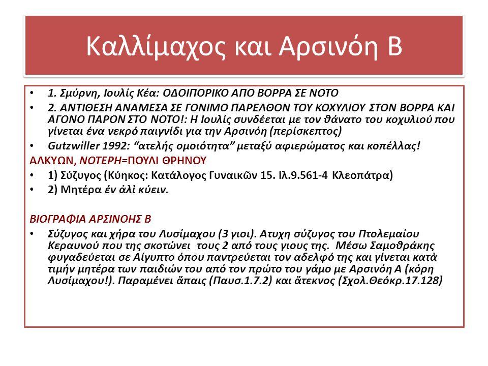 Καλλίμαχος και Αρσινόη Β 1. Σμύρνη, Ιουλίς Κέα: ΟΔΟΙΠΟΡΙΚΟ ΑΠΟ ΒΟΡΡΑ ΣΕ ΝΟΤΟ 2.