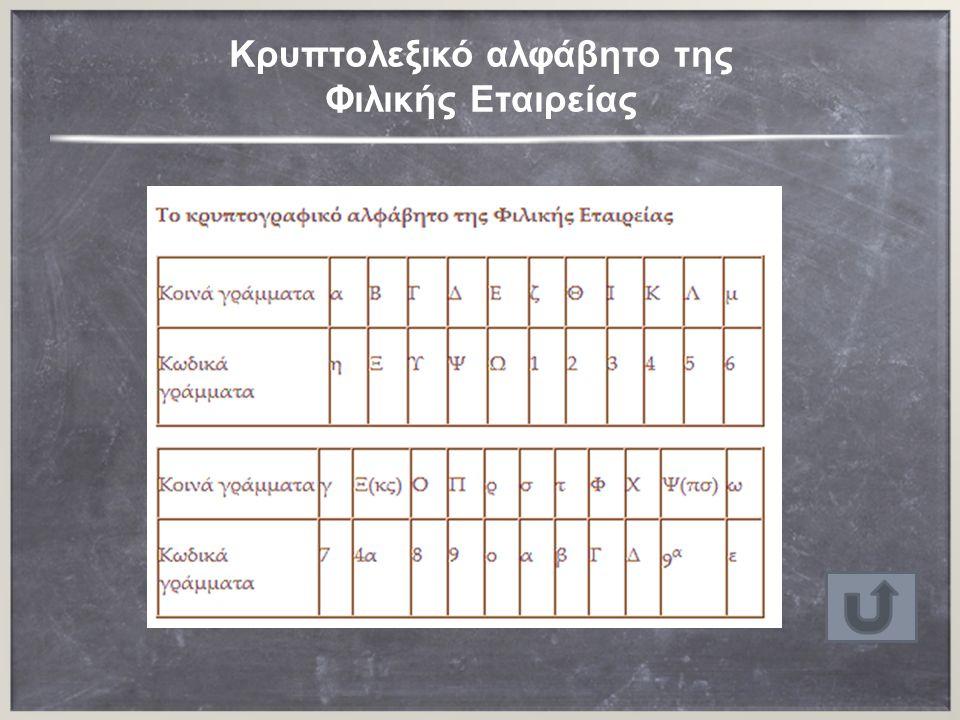 Κρυπτολεξικό αλφάβητο της Φιλικής Εταιρείας