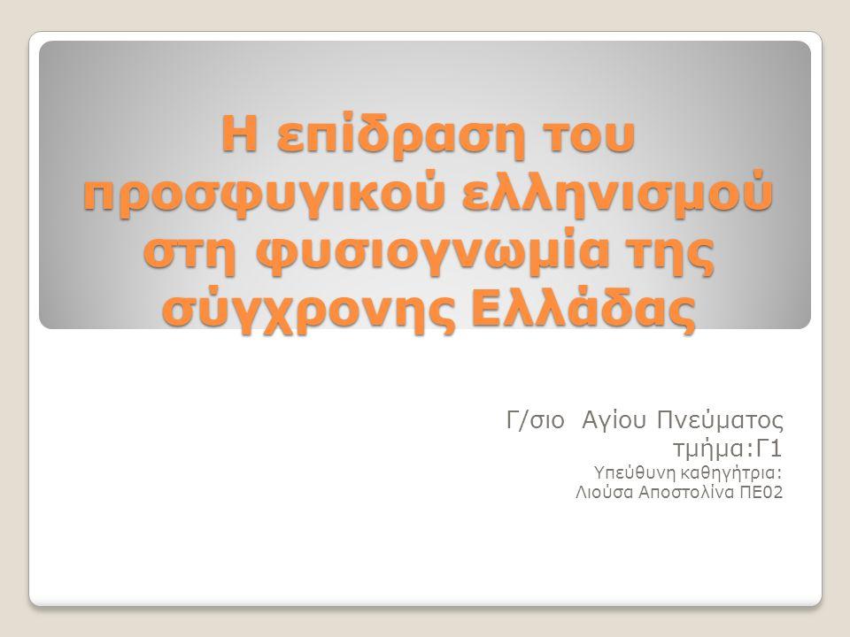Η επίδραση του προσφυγικού ελληνισμού στη φυσιογνωμία της σύγχρονης Ελλάδας Γ/σιο Αγίου Πνεύματος τμήμα:Γ1 Υπεύθυνη καθηγήτρια: Λιούσα Αποστολίνα ΠΕ02