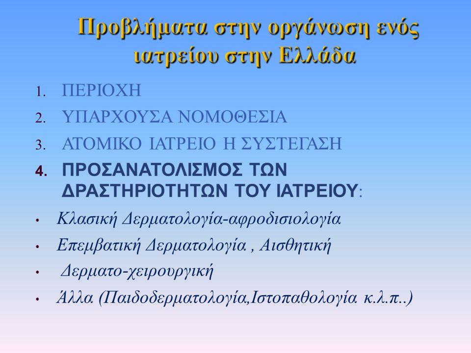 1. ΠΕΡΙΟΧΗ 2. ΥΠΑΡΧΟΥΣΑ ΝΟΜΟΘΕΣΙΑ 3. ΑΤΟΜΙΚΟ ΙΑΤΡΕΙΟ Η ΣΥΣΤΕΓΑΣΗ 4. ΠΡΟΣΑΝΑΤΟΛΙΣΜΟΣ ΤΩΝ ΔΡΑΣΤΗΡΙΟΤΗΤΩΝ ΤΟΥ ΙΑΤΡΕΙΟΥ : Κλασική Δερματολογία - αφροδισιο