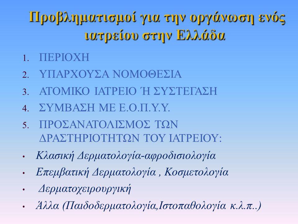 1. ΠΕΡΙΟΧΗ 2. ΥΠΑΡΧΟΥΣΑ ΝΟΜΟΘΕΣΙΑ 3. ΑΤΟΜΙΚΟ ΙΑΤΡΕΙΟ Ή ΣΥΣΤΕΓΑΣΗ 4.