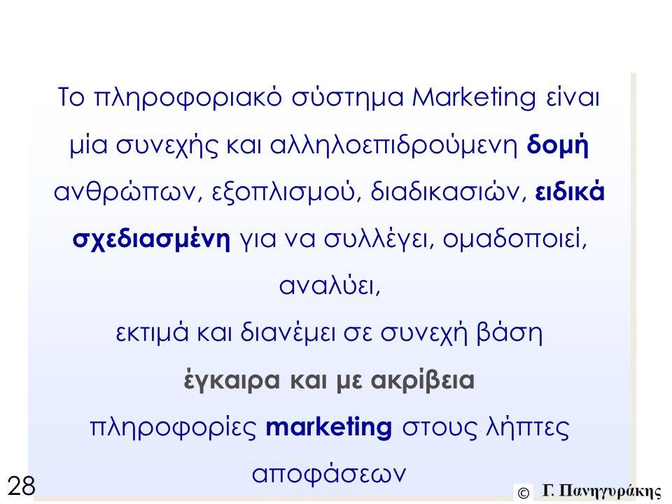 Το πληροφοριακό σύστημα Marketing είναι μία συνεχής και αλληλοεπιδρούμενη δομή ανθρώπων, εξοπλισμού, διαδικασιών, ειδικά σχεδιασμένη για να συλλέγει, ομαδοποιεί, αναλύει, εκτιμά και διανέμει σε συνεχή βάση έγκαιρα και με ακρίβεια πληροφορίες marketing στους λήπτες αποφάσεων Το πληροφοριακό σύστημα Marketing είναι μία συνεχής και αλληλοεπιδρούμενη δομή ανθρώπων, εξοπλισμού, διαδικασιών, ειδικά σχεδιασμένη για να συλλέγει, ομαδοποιεί, αναλύει, εκτιμά και διανέμει σε συνεχή βάση έγκαιρα και με ακρίβεια πληροφορίες marketing στους λήπτες αποφάσεων 28