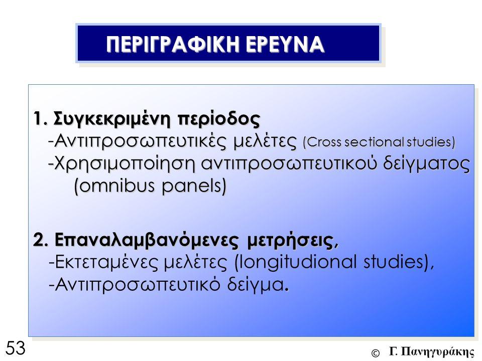 ΠΕΡΙΓΡΑΦΙΚΗ ΕΡΕΥΝΑ ΠΕΡΙΓΡΑΦΙΚΗ ΕΡΕΥΝΑ 2. Επαναλαμβανόμενες μετρήσεις, -Εκτεταμένες μελέτες (longitudional studies),. -Αντιπροσωπευτικό δείγμα. 1. Συγκ