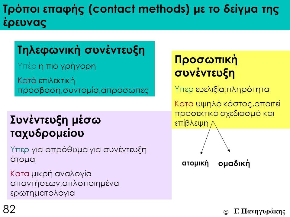 Τρόποι επαφής (contact methods) με το δείγμα της έρευνας Τηλεφωνική συνέντευξη Υπέρ η πιο γρήγορη Κατά επιλεκτική πρόσβαση,συντομία,απρόσωπες Συνέντευξη μέσω ταχυδρομείου Υπερ για απρόθυμα για συνέντευξη άτομα Κατα μικρή αναλογία απαντήσεων,απλοποιημένα ερωτηματολόγια Προσωπική συνέντευξη Υπερ ευελιξία,πληρότητα Κατα υψηλό κόστος,απαιτεί προσεκτικό σχεδιασμό και επίβλεψη ατομική ομαδική 82