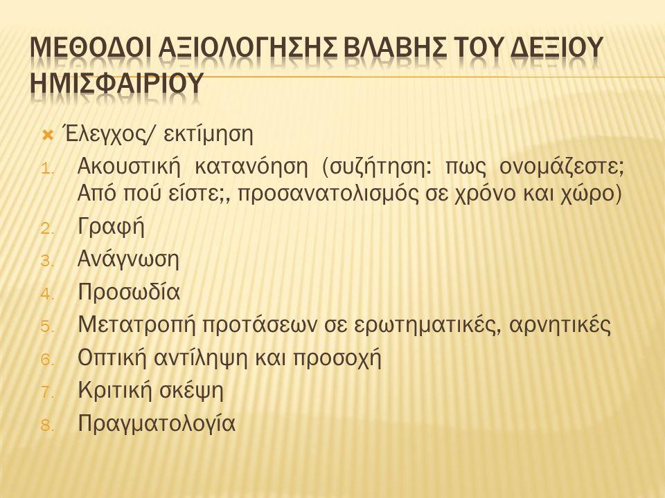  Έλεγχος/ εκτίμηση 1. Ακουστική κατανόηση (συζήτηση: πως ονομάζεστε; Από πού είστε;, προσανατολισμός σε χρόνο και χώρο) 2. Γραφή 3. Ανάγνωση 4. Προσω
