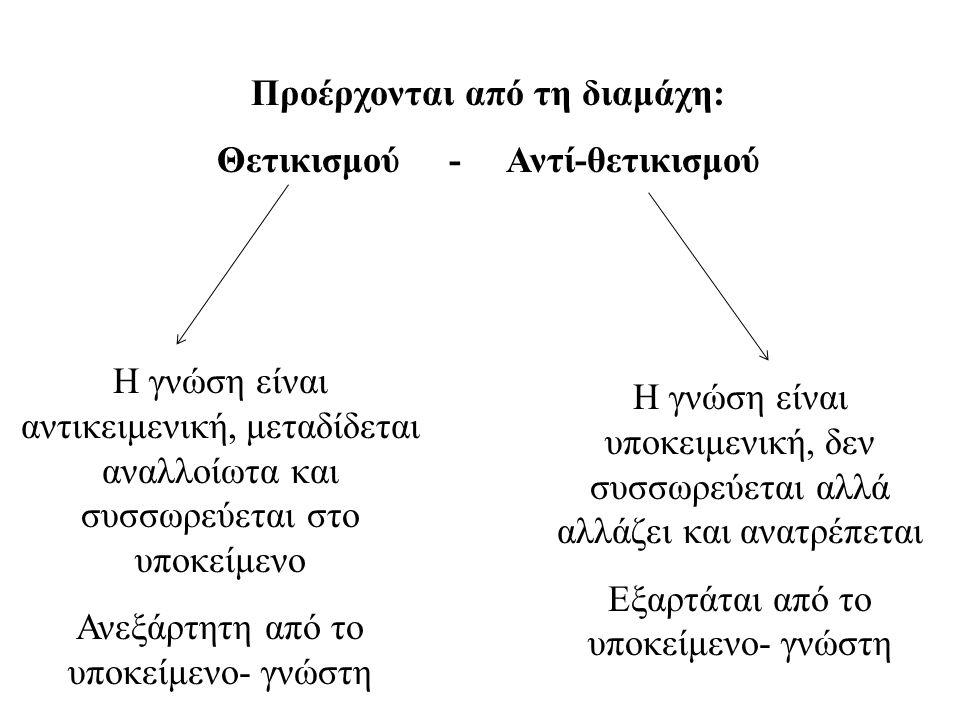 Η γνώση είναι αντικειμενική, μεταδίδεται αναλλοίωτα και συσσωρεύεται στο υποκείμενο Ανεξάρτητη από το υποκείμενο- γνώστη Η γνώση είναι υποκειμενική, δεν συσσωρεύεται αλλά αλλάζει και ανατρέπεται Εξαρτάται από το υποκείμενο- γνώστη Προέρχονται από τη διαμάχη: Θετικισμού - Αντί-θετικισμού