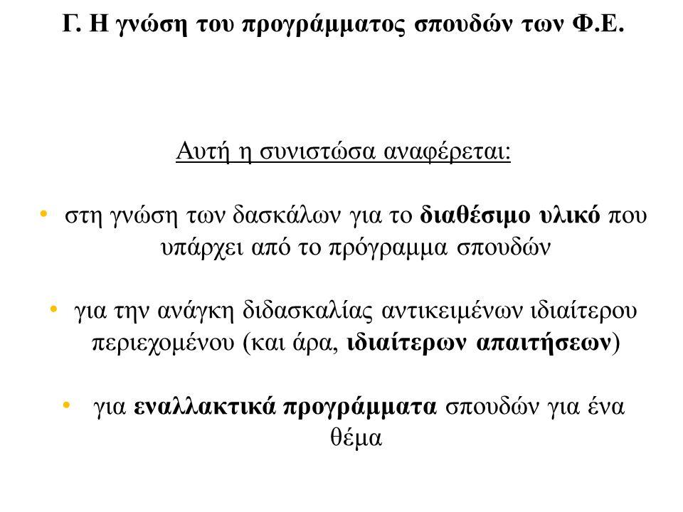 Γ. Η γνώση του προγράμματος σπουδών των Φ.Ε.