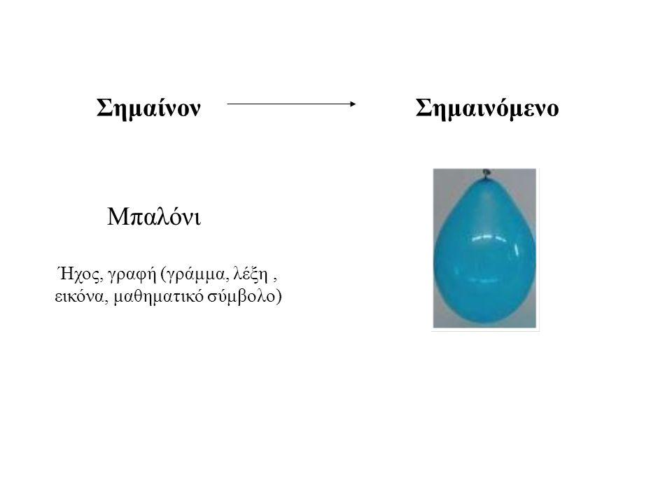 Μπαλόνι Ήχος, γραφή (γράμμα, λέξη, εικόνα, μαθηματικό σύμβολο) Σημαίνον Σημαινόμενο