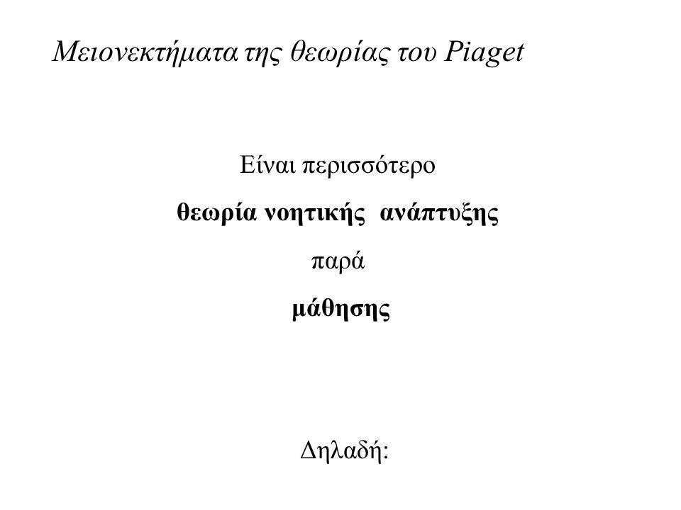 Μειονεκτήματα της θεωρίας του Piaget Είναι περισσότερο θεωρία νοητικής ανάπτυξης παρά μάθησης Δηλαδή: