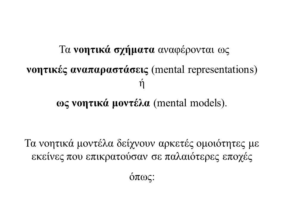 Τα νοητικά σχήματα αναφέρονται ως νοητικές αναπαραστάσεις (mental representations) ή ως νοητικά μοντέλα (mental models).