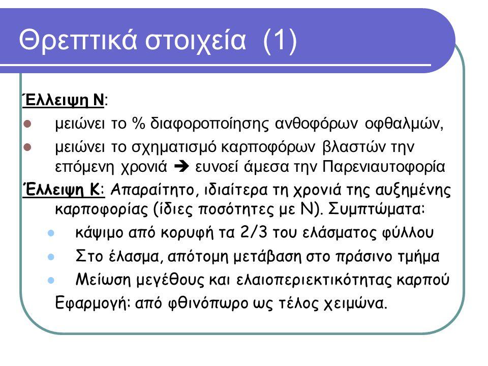 Θρεπτικά στοιχεία (1) Έλλειψη Ν: μειώνει το % διαφοροποίησης ανθοφόρων οφθαλμών, μειώνει το σχηματισμό καρποφόρων βλαστών την επόμενη χρονιά  ευνοεί