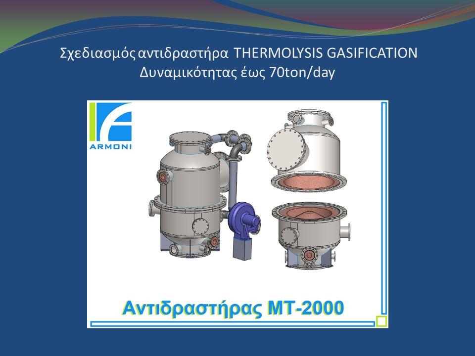 Σχεδιασμός αντιδραστήρα THERMOLYSIS GASIFICATION Δυναμικότητας έως 70ton/day